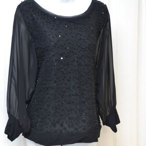 Alfani M Black Round Neck Dolmen Sleeves Sequins